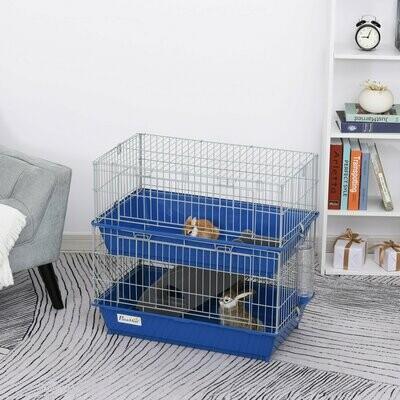 PawHut® Kleintierkäfig 2-stöckiger Nagerkäfig für Kleintiere mit 2 Türen Stahl PP Blau
