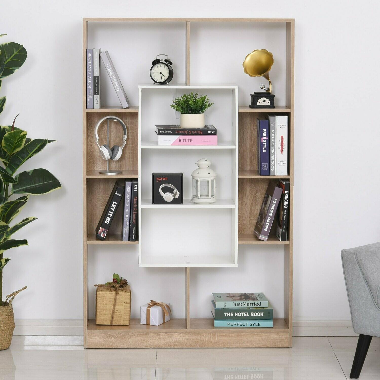 HOMCOM® Bücherregal Standregal Büroregal Raumteiler Aktenregal E1 Spanplatte Natur+Weiss 95x22x150cm