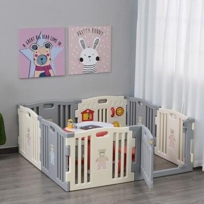 HOMCOM® Baby Laufgitter 8 Elemente Schutzgitter mit Tür und Spiel PE ABS Weiss+Grau
