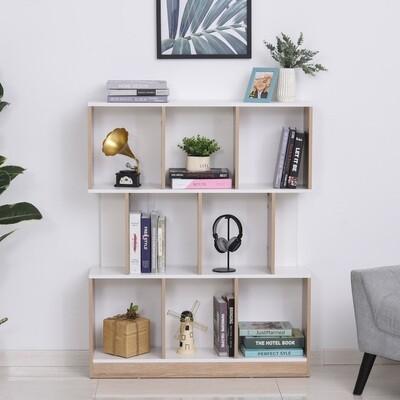 HOMCOM® Bücherregal Standregal Büroregal Aktenregal für Büro Wohnzimmer MDF Natur+Weiss