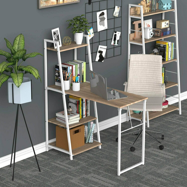 HOMCOM® Schreibtisch mit Bücherregal Computertisch klappbarer Bürotisch Metall