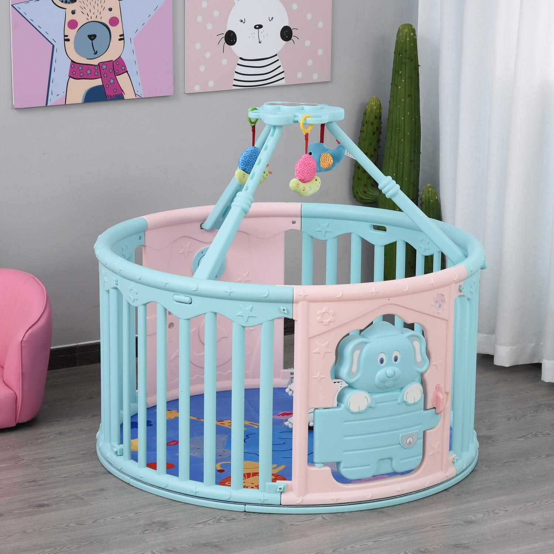 HOMCOM® Baby Laufgitter mit rundem Schutzgitter und Tür für Kinder zwischen 6-36 Monaten Kunststoff