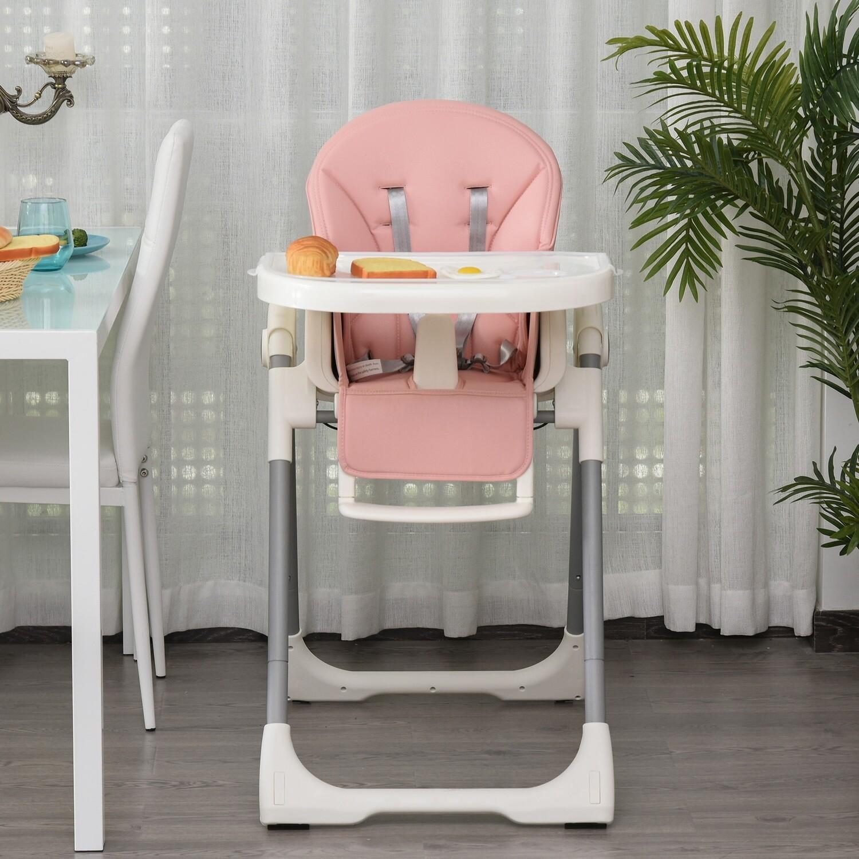 HOMCOM® Baby Hochstuhl Babystuhl verstellbar und klappbar für 6-36 Monate PP Stahl Rosa