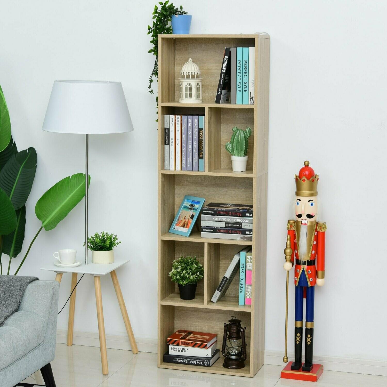 HOMCOM® Gestell Bücherregal mit 5 Fächer Standregal Eckbücherregal P2 Spanplatte Eiche