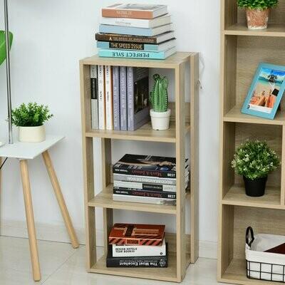 HOMCOM® Bücherregal mit 3 Fächer Standregal Eckbücherregal E1 Spanplatte Natur