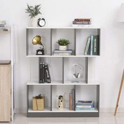 HOMCOM® Bücherregal Standregal Büroregal Aktenregal für Büro Wohnzimmer MDF Grau+Weiss