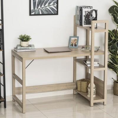 HOMCOM® Schreibtisch mit Bücherregal Computertisch Bürotisch Spanplatte Eiche