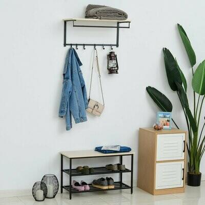 HOMCOM® 2-in-1 Garderobenset mit Sitzbank Wandgarderobe für Eingangsbereich 6 Haken