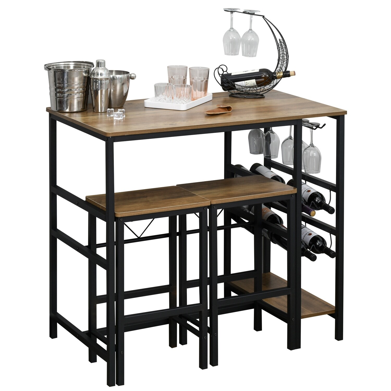 HOMCOM® Bartisch-Set Stehtisch mit 2 Barhockern Küchentresen mit Weinregal Stahl