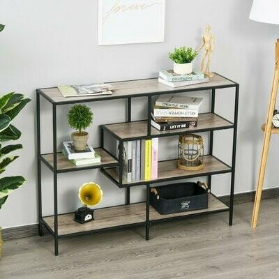 HOMCOM® Standregal Bücherregal Industrieller Stil Aktenregal P2 Spanplatte helle Eiche