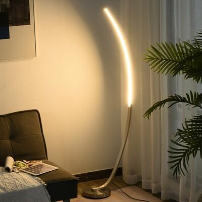 HOMCOM® LED Stehlampe in Kurvenform Stehleuchte Standleuchte 3000K Farbtemperatur Alu