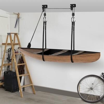 HOMCOM® Kajak Lift Decken Lift Aufbewahrungssystem für Kanus bis 50 kg Stahl PP Schwarz