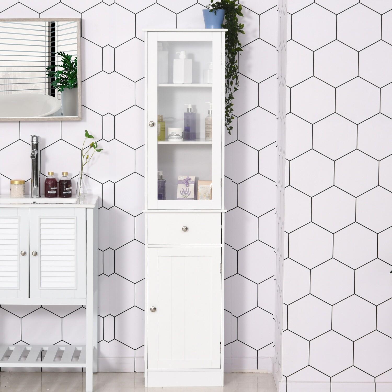 kleankin® Badezimmerschrank Badschrank Vitrine Küchenschrank mit Schublade MDF Acryl Weiss