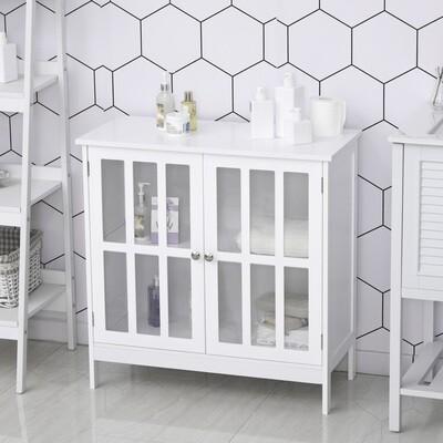 kleankin® Küchenschrank Vitrine mit 2 Türen Vitrinenschrank Badezimmerschrank MDF Acryl