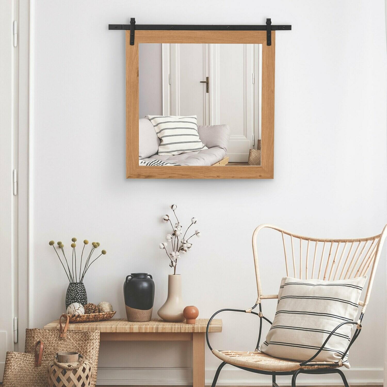 HOMCOM® Badezimmerspiegel Wandspiegel Badspiegel mit Gleitschiene Industriestil Metall