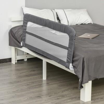 HOMCOM® Bettgitter 150 cm Bettschutzgitter Rausfallsschutz für Kinder & Senioren faltbar Grau