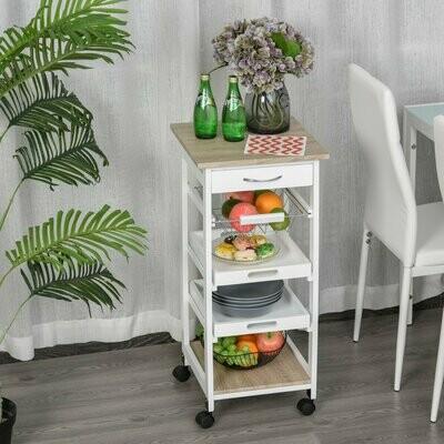HOMCOM® Küchenwagen Servierwagen mit Schublade Abnehmbares Tablett Kiefer Weiss