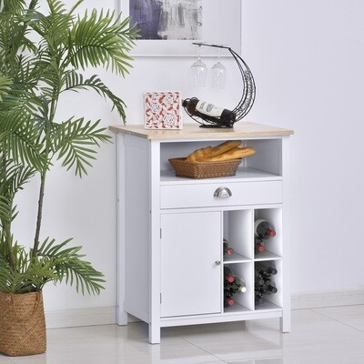 HOMCOM® Küchenschrank Beistellschrank Kommode Sideboard mit Schublade und Weinregal Weiss