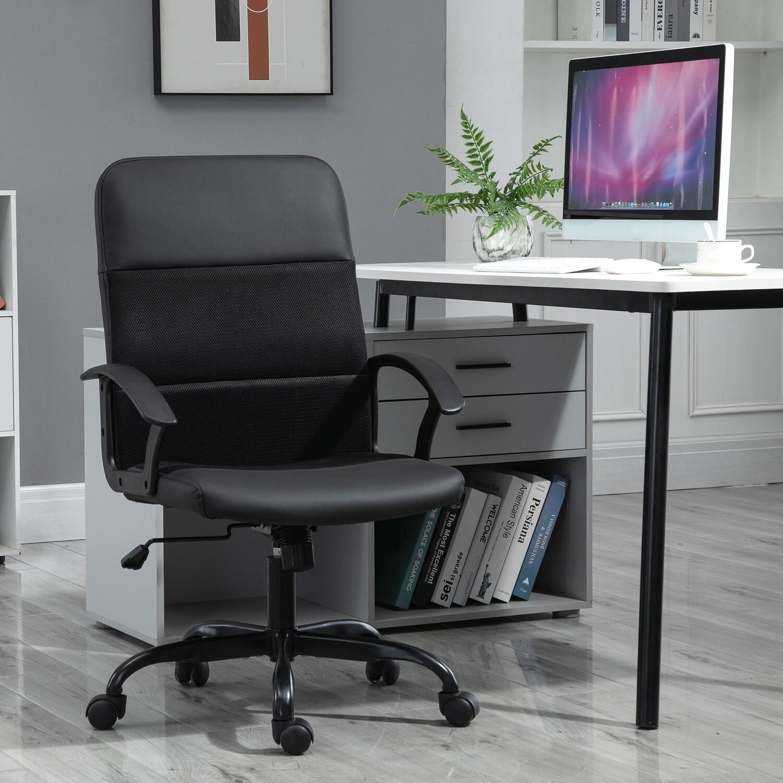Vinsetto® Bürostuhl Höhenverstellbarer Schreibtischstuhl Drehstuhl PVC+Netz Bezug Schwarz