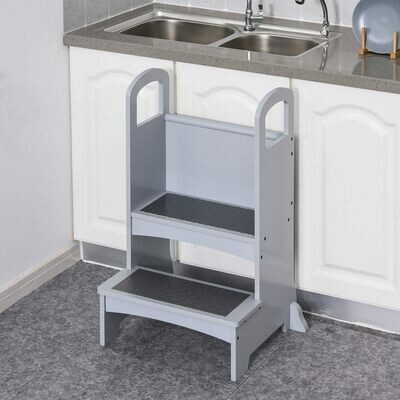 HOMCOM® Tritthocker in Küche Schemel Stehender Küchenhelfer mit 2 Stufen Kiefer Grau
