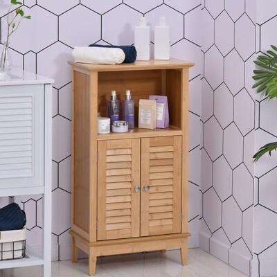 HOMCOM® Badzimmerschrank mit offener Regal Badregal Badezimmer Standregal Bambus Natur