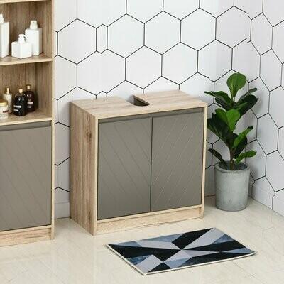 HOMCOM® Waschbeckenunterschrank Badschrank Badmöbel Unterschrank mit 2 Türen Grau+Eiche