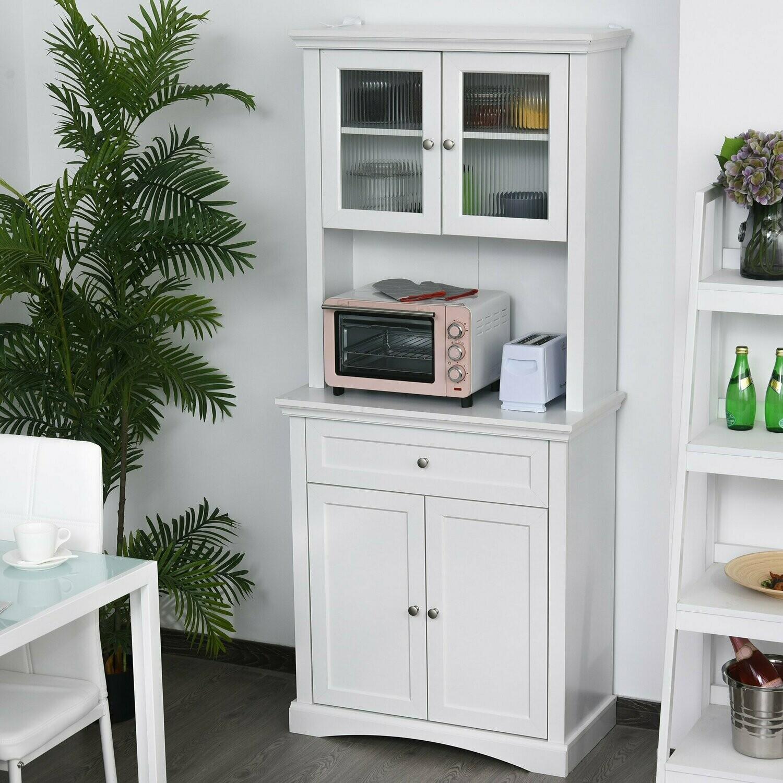 HOMCOM® Küchenschrank mit Schublade Hochschrank 2 Verstellbare Ablagen MDF
