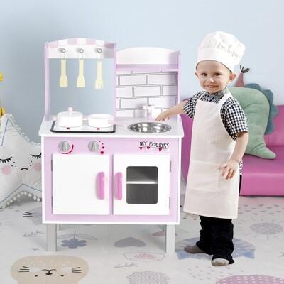 HOMCOM Kinderküche mit Zubehör Herde Spielküche Spielzeugküche 3 Jahre+ Holz