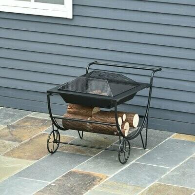 Outsunny® Kaminholzwagen mit Feuerkorb Feuerschale Brennholzregal mit 2 Rädern Metall