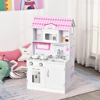 HOMCOM® Kinder Puppenhaus & Kinderküche aus Holz 2-in-1 3 Etagen mit Zubehör 3 Jahre+