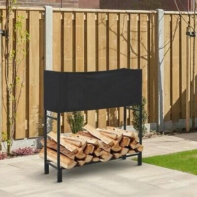 Outsunny® Kaminholzständer mit Sicherheitsabdeckung Brennholzregal Feuerholzablage Stahl