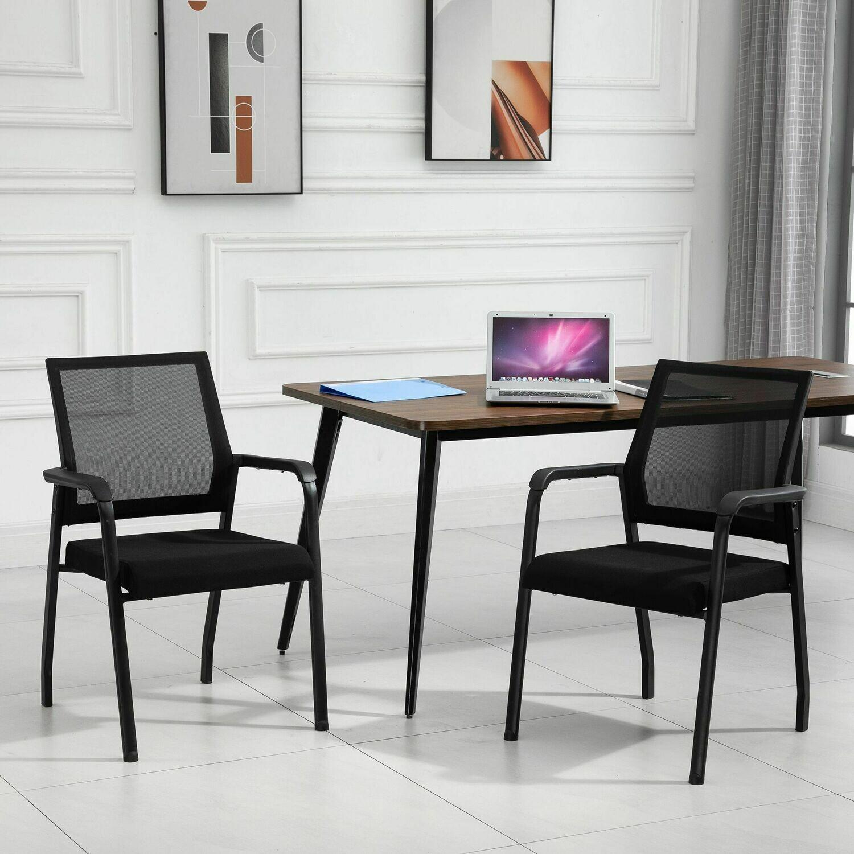 Vinsetto® Konferenzstuhl 2er Set Bürostuhl Schreibtischstuhl Konferenzraum Netzstoff