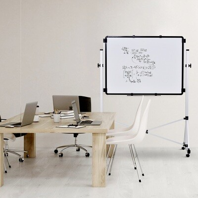 Vinsetto® Doppelseitige Whiteboard 360° Magnetisch Staffelei Höhenverstellbar Stiftablage
