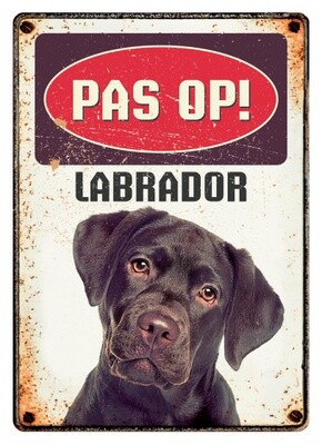 Plenty Gifts Hunde- Warnschild Labrador 21 x 14,8 cm stahlbeige