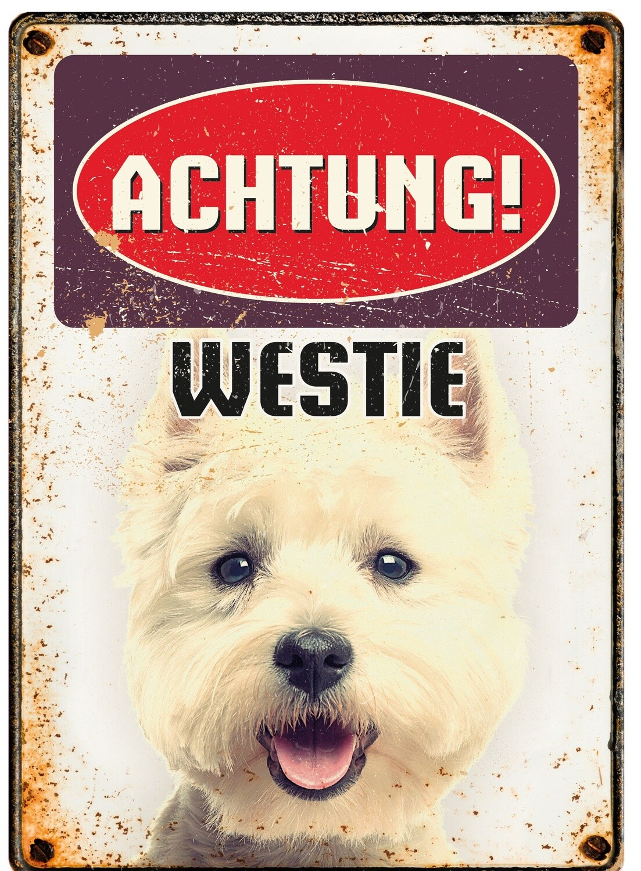 Plenty Gifts Hunde- Warnschild Westie 21 x 14,8 cm