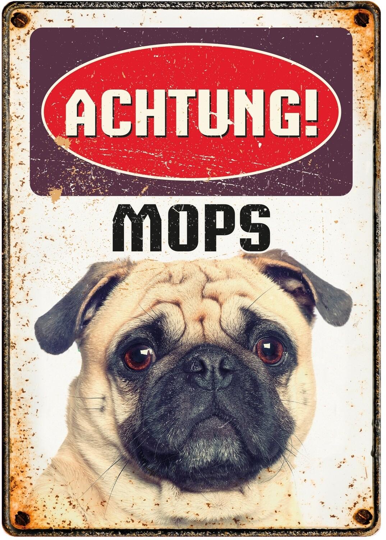 Plenty Gifts Hunde- Warnschild Mops 21 x 14,8 cm