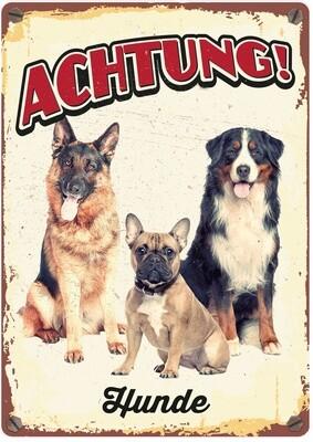 Plenty Gifts Hunde- Warnschild Achtung Hunde 21 x 14,8 cm