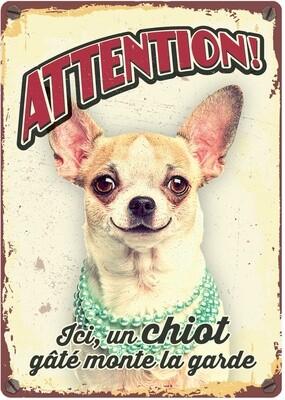 Plenty Gifts Hunde- Warnschild Attention Ici, un Chiot gâté monte la garde 21 x 14,8 cm