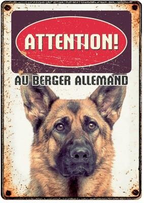 Plenty Gifts Hunde- Warnschild Attention Au Berger Allemand 21 x 14,8 cm