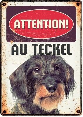 Plenty Gifts Hunde- Warnschild Attention Au Teckel 21 x 14,8 cm