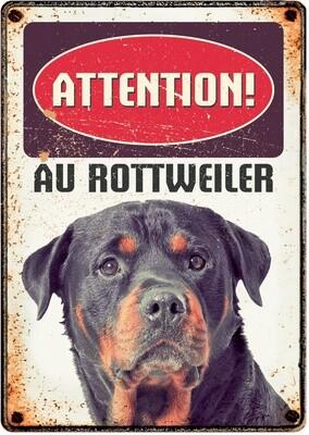 Plenty Gifts Hunde- Warnschild Attention au Rottweiler 21 x 14,8 cm