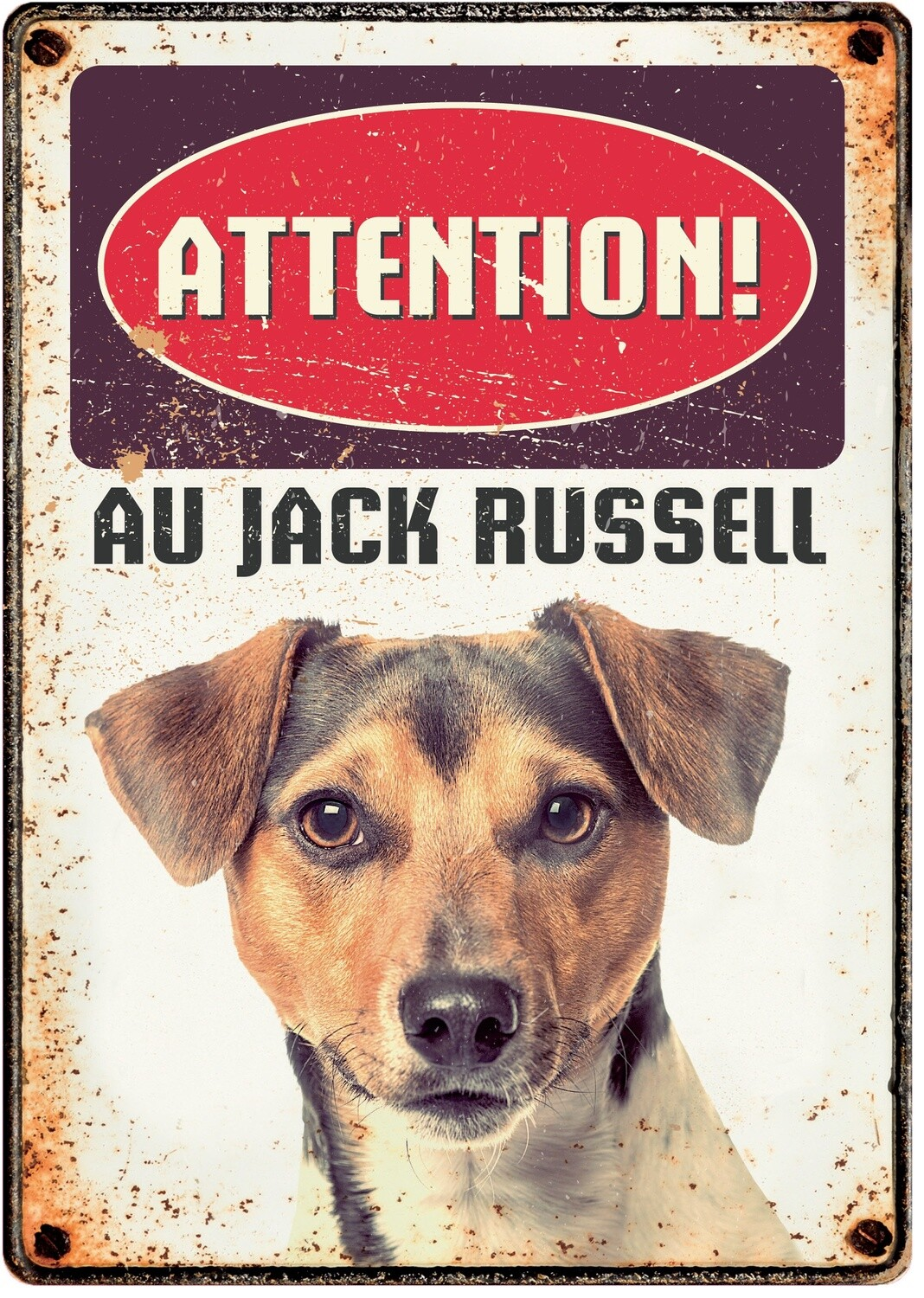 Plenty Gifts Hunde- Warnschild Attention Au Jack Russell 21 x 14,8 cm