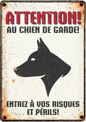 Plenty Gifts Hunde- Warnschild Attention Au Chien de Garde 21 x 14,8 cm