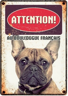 Plenty Gifts Hunde- Warnschild Attention Bouledogue Francais 21 x 14,8 cm