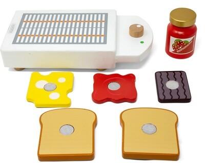 Mamamemo Holzspielzeug Toaster junior 20 cm, 7-teilig