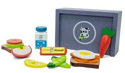 Mamamemo Spiel-Lunchbox aus Holz 17,5 cm, 16-teilig