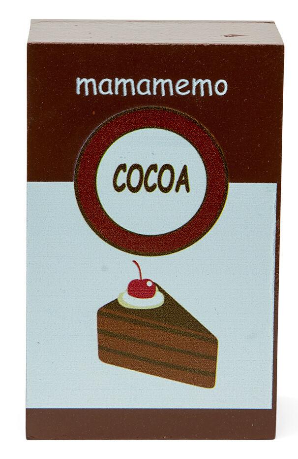 Mamamemo Schokolade/Kakao- Packung aus Holz, 10 cm, braun/weiß