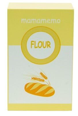 Mamamemo Mehl- Packung aus Holz, 10 cm, gelb/weiß
