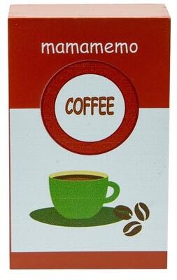 Mamamemo Kaffeebohnen- Packung aus Holz, 10 cm, braun/weiß