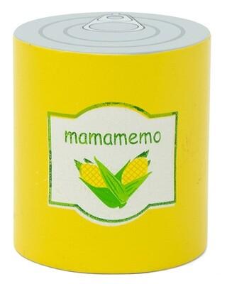 Mamamemo Maiskonserve aus Holz, 6 cm, gelb/silber